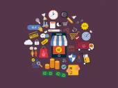 Market research icons — Stock Vector