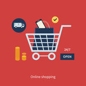 Online shopping and marketing — Stock Vector