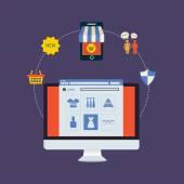 Set of online shopping — Stockvector