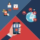 Icone per il mobile marketing — Vettoriale Stock