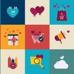 Valentines day, wedding, love icons — Stock Vector #64040317