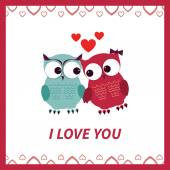 Lovers and happy owls with hearts — Stock Vector