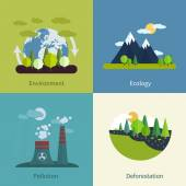 Environment, ecology, pollution and deforestation icons — Stock Vector
