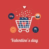 Online shopping on Valentine's Day — Stock Vector