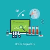 Online health diagnostic icons — Stock Vector