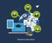 Icons set of distance education — Stock Vector