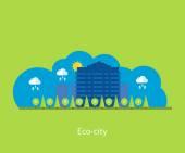 Eco City landscape design — Vector de stock