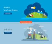 Green ecology and pollution concept — Stock Vector