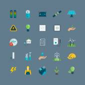Power, green energy icons — Vettoriale Stock