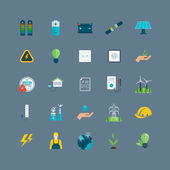 Power, green energy icons — Vetor de Stock