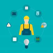 Professional electrician and electricity concept — Vecteur