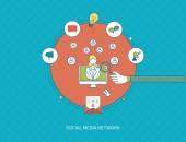 Online communication, education and social media — Stock Vector