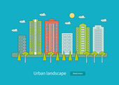 Set of urban landscape and city life — Vector de stock