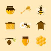 Icons of organic honey — Stock Vector