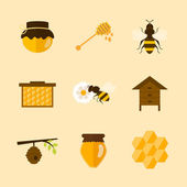 Icons of organic honey — ストックベクタ