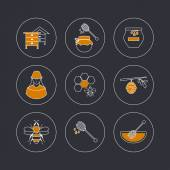Icons of organic natural honey — Vector de stock