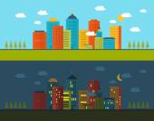Urban landscape and city life — Stock Vector