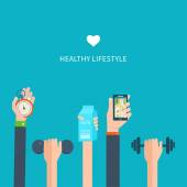 Healthy lifestyle, fitness and physical activity — Stock Vector