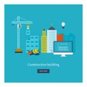 Icons of building construction, city life — Stock Vector