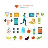 Icons of healthy lifestyle, fitness — Vetor de Stock