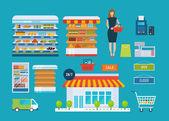 Icônes de magasin supermarché — Vecteur