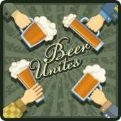 Beer Unites theme — Stock Vector