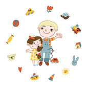 Boy and girl surrounded by toys — Stock Photo