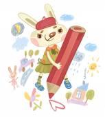Bunny draws a heart — Stock Photo