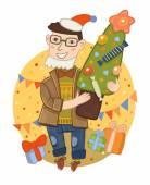 Man holding  Christmas tree — Stock Photo