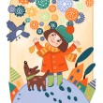 Girl and snow. Decorative fantasy picture. Children's illustration — Stock Photo #62240441