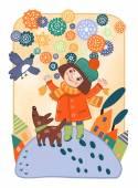 Girl and snow. Decorative fantasy picture. Children's illustration — Stock Photo