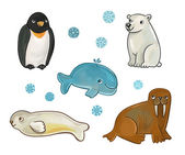 Collection of animals of the North: the polar bear, seal, penguin, walrus, whale — Stock Photo