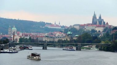 Prague riverside bridges — Stock Video