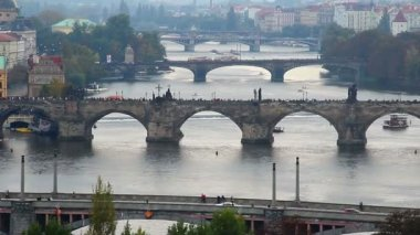 Prague bridges timelapse — Stock Video