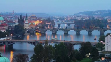 Prague bridges — Stock Video