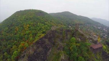 Medieval European castle on rocks — Stock Video