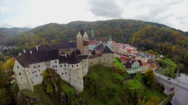 European castle with river — Stock Video