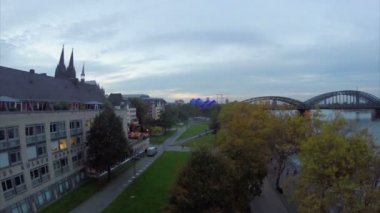 Cologne evening aerial view — Stock Video