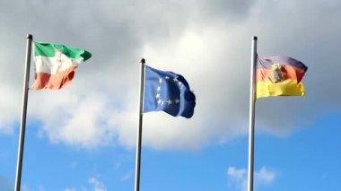 Waving flags of Germany and European Union — Vídeo stock