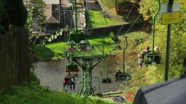 Cable way above river — Stock Video
