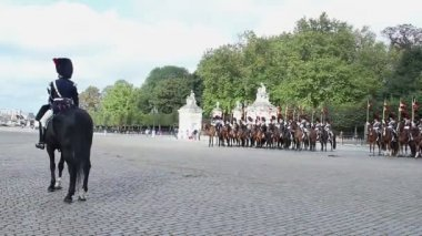 Belgian cavalry on parade — Stock Video