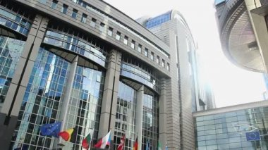 European Parliament headquarters in Brussels — Stock Video