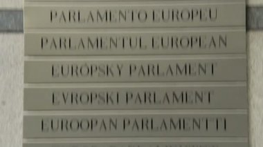 European Parliament Logo Plate — Stock Video