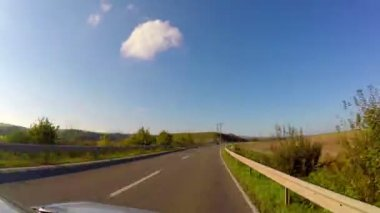 Driving car on village road — Video Stock