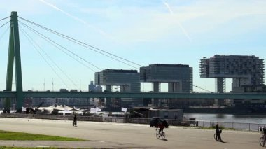 City quay for bicycle riders — Stock Video