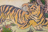 Tiger painting on granite wall — Stock Photo