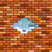 Brick wall with a hole and the clouds - the idea — Vector de stock