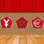 Chips dollar yen and euro stability — Stok Vektör