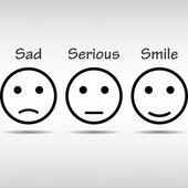 Set icon,smile,sad,serious — Stok Vektör