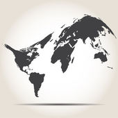 Gri zemin üzerine gölge ile Dünya Haritası — Stok Vektör